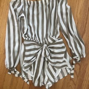 Striped off shoulder romper